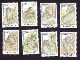 Tanzania, Scott #852-859, Mint Hinged, Chimpanzees, Issued 1992 - Tanzania (1964-...)