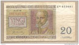 Belgio - Banconota Circolata Da 20 Franchi - 1950 - [ 6] Tesoreria