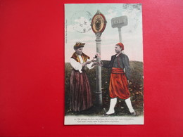 CPA FRONTIERE FRANCE ALLEMAGNE FEMME HOMME COSTUMES - Dogana