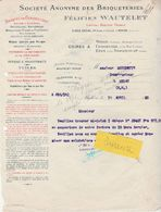Facture 1920 / Félicien WAUTELET/ S A Briqueterie / Tuiles / Poterie Drainage / 08 Mohon / Charleville - Altri
