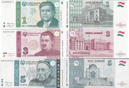 Tajikistan 1999-2013 - Set 1+3+5 Somoni - Pick 14-23 UNC - Tajikistan