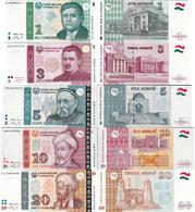 Tajikistan 1999-2013 - Set 1+3+5+10+20 Somoni - Pick 14-23 UNC - Tajikistan