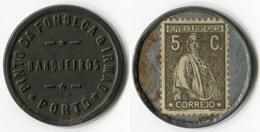 N93-0479 - Timbre-monnaie - Portugal - Pinto Da Fonseca & Irmao - Porto - 5 C. - Kapselgeld - Encased Stamp - Monétaires / De Nécessité