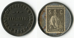 N93-0479 - Timbre-monnaie - Portugal - Pinto Da Fonseca & Irmao - Porto - 5 C. - Kapselgeld - Encased Stamp - Monetary /of Necessity