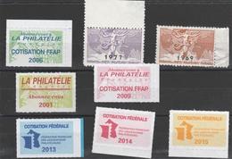 8 Vignettes Fédération Française Philatélie - Esposizioni Filateliche