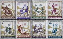//// JO 1972 - RWANDA - Yvert : 485 / 492** - Michel : 521 / 528** - Ete 1972: Munich