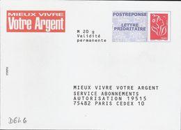 D646 - Entier / Stationery / PSE - PAP Réponse Lamouche - Mieux Vivre Votre Argent - Agrément 07P714 - Entiers Postaux