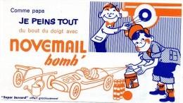 Buvard  -  NOVEMAIL Bomb Comme Papa Je Peins Tout Du Bout Du Doigt  (fond Orange) - Paints