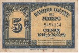 BILLET DE BANQUE DU MAROC 01/08/43 DE 5 FRANC - Marokko