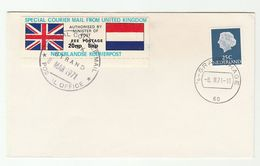 1971 COVER NETHERLANDS Stamps GB POSTAL STRIKE COURIER MAIL 20p LABEL Great Britain - Period 1949-1980 (Juliana)