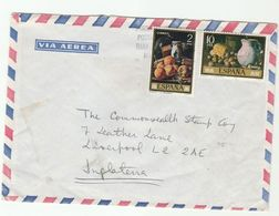 Air Mail SPAIN COVER Multi ART FRUIT  Stamps  To GB - Fruits
