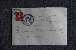 Lettre De LYON  Vers ST LIZIER  ( Semeuse Camee 10 C Rouge)) - 1877-1920: Semi Modern Period