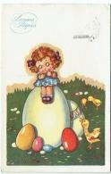 Illustrateur : Serilli ?. Enfant Et Oeufs. Bonnes Pâques. - Pasqua