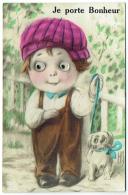 Carte à Systèmes. Illustrateur : Enfant Et Chien. Yeux Mobiles.  Je Porte Bonheur. 1928. - Dreh- Und Zugkarten
