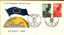88659) Andorra Francese-fdc-europa Cept 1967- 29/4/1967-serie Completa - FDC