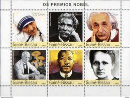 GUINEE BISSAU - Prix Nobel - Mère Teresa-A. Einstein--A.Fleming - Martin Luther King - Marie Curie - Nobel Prize Laureates