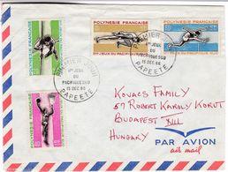 M222 French Polynesia Lettre Du Premier Jour FDC 1966 Papeete To Hungary Basketball Hurdle Race Pole Vault - Briefe U. Dokumente