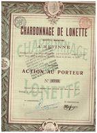 Action Ancienne - Charbonnage De Lonette - Titre De 1910 - Retinne - Mines