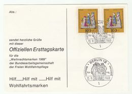 1969 WEST BERLIN FDC Card Multi CHRISTMAS Stamps Cover Germany - Christmas