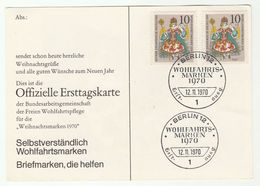 1970 WEST BERLIN FDC Card Multi CHRISTMAS Stamps Cover Germany - Christmas