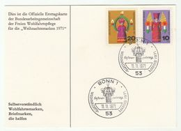 1971 GERMANY FDC Card CHRISTMAS Stamps Cover - Christmas