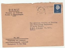 1955 NETHERLANDS COVER Ministry Education To Heating Ventilating Society USA , Stamps - Period 1949-1980 (Juliana)