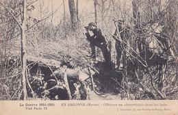 MILITAIRE EN ARGONNE OFFICIERS EN OBSERVATION DANS LES BOIS GUERRE 14 18 - War 1914-18