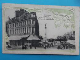 33 : BORDEAUX : Le COURS Du 30 JUILLET Et La COLONNE Des GIRONDINS , Carte Gauffrée, C.P.A , Carte En Bon état ,animée - Bordeaux