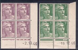France YT 718/719 Gandon CD 1946 N** MNH - Coins Datés