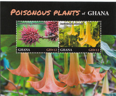 2016 Ghana Poisonous Plants Flowers   - 3 Souvenir Sheets Complete MNH - Ghana (1957-...)