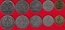 Kyrgyzstan Set Of 5 Coins: 50 Tyiyn - 10 Som 2008-2009 UNC - Kyrgyzstan