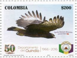 Lote 2016-6.1, Colombia, 2016, Sello, Stamp, Quindio, Ave, Bird, Aguila Real, Spizaetus Isidori - Colombia