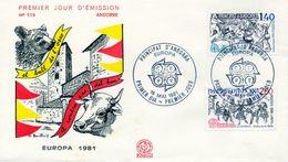 1981 , ANDORRA FRANCESA , PRIMER DIA , ED. 313 / 314 - TEMA EUROPA - FDC