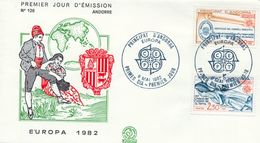 1982 , ANDORRA FRANCESA , PRIMER DIA , ED. 321 / 322 - TEMA EUROPA , HECHOS HISTÓRICOS - FDC