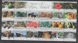 PITCAIRN ISLAND, 2016, MNH, PITCARN LANGUAGES, FRUIT, GOATS, MARINE LIFE, SEA URCHINS, SHIPS, SHEETLET - Languages