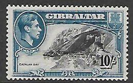 Gibraltar George VI, 1943, 10/=, Perf 13, MH *  2mm Shift Of Vignette To Right - Gibraltar