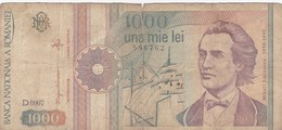 Roumanie - Billet De 1000 Lei - Mihail Eminescu - Septembre 1991 - Roumanie