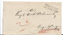 WTB200 /   WÜRTTEMBERG - Brief, Öhringen 1836 Nach Ingelfingen - Duitsland