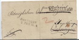 WTB202 /  WÚRTTEMBERG -  Brief, KÜNZELSAU (Einzeiler + Öhringen - Duitsland
