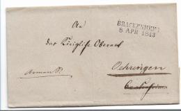 WTB210 /   WÚRTTEMBERG - Brief, BRACKENHEIM 1843 Nach Oehringen - Duitsland