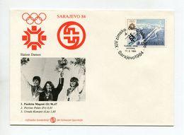 SPORTS FDC COVER JUGOSLAVIA 1984 SLALOM DAMEN WINTER OLYMPISCHE SPIELE SARAJEVO SCHWEIZER SPORTHILFE - Inverno1984: Sarajevo