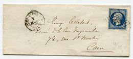 CALVADOS De PONT L EVEQUE PC 2514 Sur N°14 Sur LSC Du 02/03/1856 - 1849-1876: Période Classique