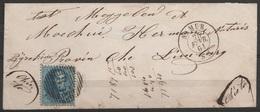 """L.affr.N°15 P85 Càd """"NAMUR/25 FEV 1864"""" Pour MEGGELEN (Mechelen ?) + Man. """"chieto"""" (sito ?) - 1863-1864 Medallions (13/16)"""