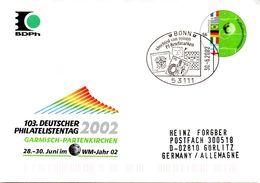 """BRD Amtl.GZS-Umschlag USo 37 """"103.Deutscher Philatelistentag"""" SSt. 30.6.2002 BONN - [7] République Fédérale"""
