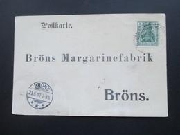 DR Nordschleswig 1902 Postkarte An Die Margarinefabrik Bröns. Bahnpoststempel Tondern - Hvidding Zug 1224 ? Bestellkarte - Briefe U. Dokumente
