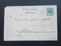 DR Nordschleswig 1898 Ganzsache Nach Bröns. Bahnpoststempel Tondern - Hvidding Zug 1222 Margerinefabrik Bröns - Deutschland