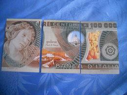 Italie - Reproduction Et Interpretation Du Billet De 100.000 Lires En Trois Cartes Postales - Autres