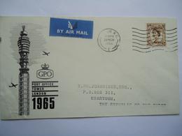 GREAT BRITAIN  U.K  COVERS   1966  POSTAID SUDAN KHARTOUM  TOWER LONDON - Gran Bretagna
