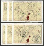 1992 Vaticano Vatican SCOPERTA AMERICA  DISCOVERY  COLOMBO 6 Foglietti: 5 MNH**+1 Usato USED FDC 6 Souv.sheets - Cristoforo Colombo