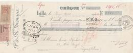 Lettre Change Chèque 20/4/1924  Fremaux Tissages LILLE Nord à Canet Rochet Lyon Timbre + Cachet Fiscal - Bills Of Exchange